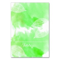 Green watercolor and leaves wedding place card table cards