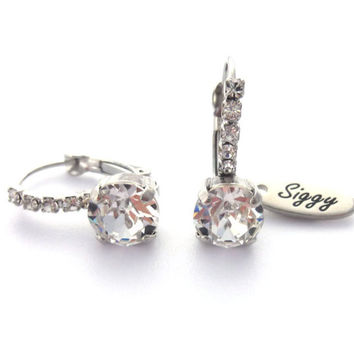 Dazzling Swarovski crystal earrings, bridal wedding, strikingly beautiful diamond-like sparkle, Siggy bling