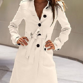 White Buttons Belted Long Sleeve Long Coat