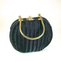 Vintage 1960's Black and Brass Wicker Woven Purse