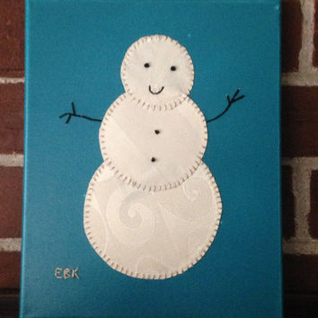Small Snowman #1 Fabric Wall Art
