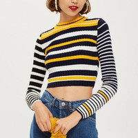 Stripe Cropped Jumper | Topshop