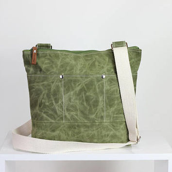 Green Waxed Tote Bag, Long Cotton Strap, Shoulder and Crossbody Bag, Fully Lined, Waterproof,  Pocket Bag, Zippered Bag, Unisex Tote Bag
