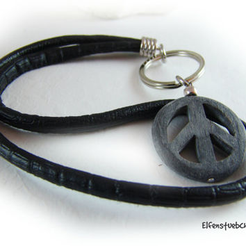 key chain peace horn nappa leather black grey silver - key holder - lanyard