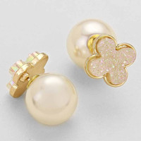 Whte Gold Clover Pearl Double Sided Earrings