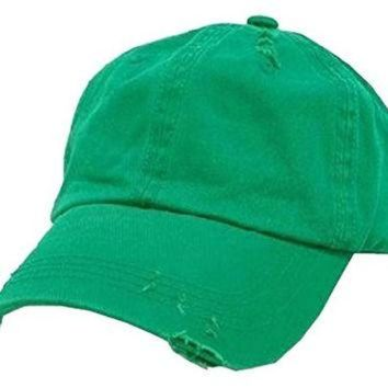 ESBONS Kelly Green Vintage Distressed Polo Style Low-Profile Baseball Cap Hat