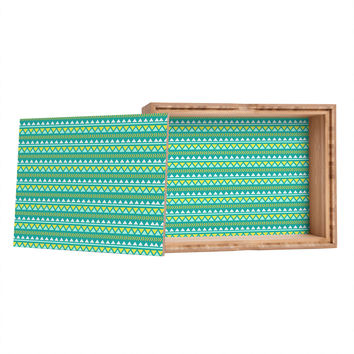 Allyson Johnson Teal And Yellow Aztec Jewelry Box