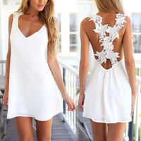 Floral White Backless Sleeveless One Piece Dress b5035