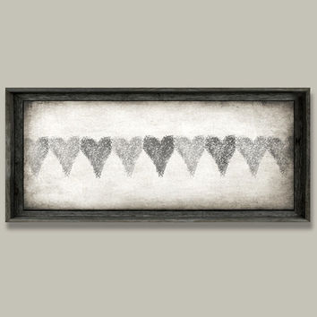 Rustic Home Decor, Wall Decor, Large Framed Art, Hearts, Grey, Brown, Soft White, Neutral Decor, Barnwood, Giclee Canvas On Solid Backing