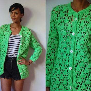 Vtg Neon Crochet Button Up Retro Cardigan Sweater