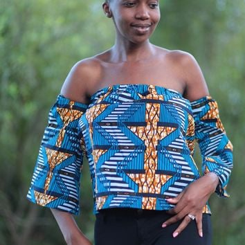 African Print Raha Off Shoulder Top - Brown/Royal Blue Kente Print.