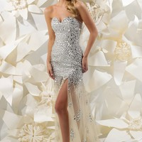 Sparkle 71135 Champagne Evening Gown