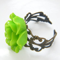 Rose Ring , Statement  Ring , Lime Green Cocktail Ring , Bridesmaid Ring , Ladies Vintage Look Rose Ring