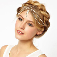 Gold Multi Pearl Chain Red Bead Crown Tikka Head Hair Cuff Headband Headpiece