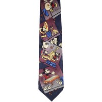 Atlas Design Novelty Mickey Mouse Wide Silk Tie - Blue