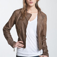 Jou Jou Weathered Faux Leather Quilted Moto Jacket (Juniors)   Nordstrom