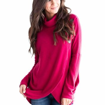 Rosy Button Cowl Neck Overlap Tunic Top