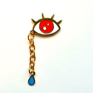 SAD & EVIL- Eye Enamel brooch with dangling tear By Penelope Gazin
