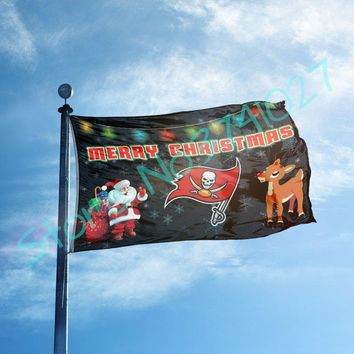 Tampa Bay Buccaneers Merry Christmas flag 3x5ft Banner 100D Polyester Custom gift Flag Metal Grommets