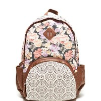 LA Hearts Crochet Pocket Floral School Backpack - Womens Backpack - Black - NOSZ