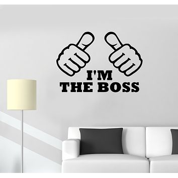 Wall Decal Hands Gestures Words Inscription Cool I'm The Boss Vinyl Sticker (ed1336)