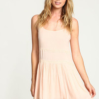 PEACH LACE TIERED SLIP DRESS