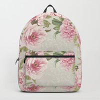 pink peony pattern Backpack by sylviacookphotography