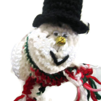 Snowman Doorknob Cover Crochet, Christmas Snowman Decoration, Jingle Bell Snowman