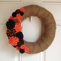 Burlap Halloween Wreath with Orange and Black by BowsandDaggers
