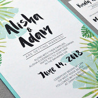 Destination Wedding Invitations, Teal and Green Wedding Invites, Beach Wedding Invitation Suite, Watercolor Wedding Pocket Invite Palm Leaf