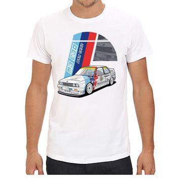 ca qiyif Red Car PComfortable White Tee