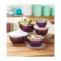Mixing Bowl Set Stainless Steel Purple Nesting Storage 10 Piece Lids Food Bake