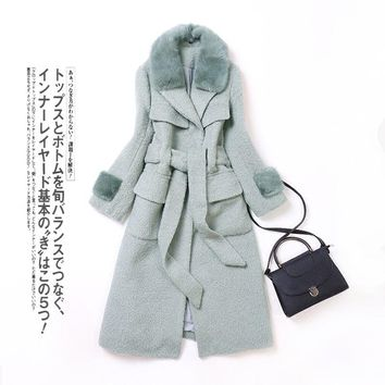 2017 winter new Women's fur coat,Elegant Mink Fur collar jackets Alpaca fur jacket girls long wool overcoats LK14