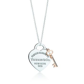 Tiffany & Co. -  Return to Tiffany™ heart key pendant in silver and RUBEDO® metal, medium.