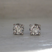 Estate Classic Round Brilliant Cut Diamond Stud Earrings VS2 14kt White Gold Basket Settings Threaded Screw Back Posts Mothers Day Gift
