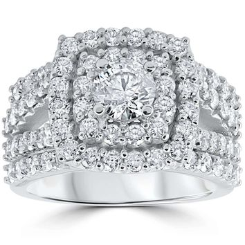 3 ct Diamond Engagement Wedding Cushion Halo Ring Set