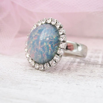 Blue Opal Silver Ring, Silver Adjustable Ring, Rhinestone Ring, Blue, Pink, Green, Opal Jewelry
