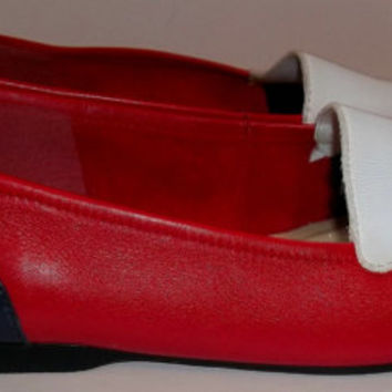Vintage 80s RWB Leather Skimmer Flats By  Enzo Angiolini