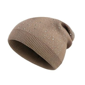 Rhinestones Knitted Skull Hats For Women Winter Skullies Beanies Cap Ladies Thick Warm Caps Female Winter Hat For Girl