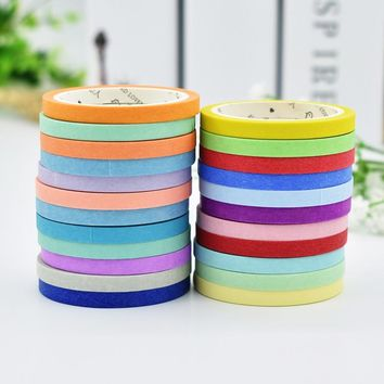 DIY Cute Kawaii Solid Color Masking Washi Tape Lovely Decorative Tape For Photo Album Diary Free Shipping 3433