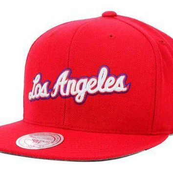 NBA Mitchell & Ness Red Wordmark Los Angeles Clippers Snapback Cap