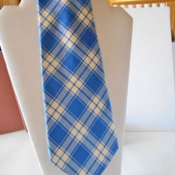 POLO by RALPH LAUREN Blue & White Plaid 100% Silk Tie