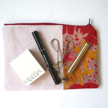 Silk linen makeup bag with pink and red Japanese vintage silk kimono, pink red floral makeup bag
