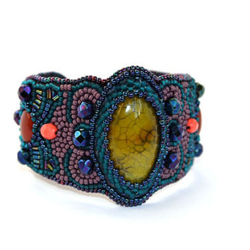 Yellow Agate Bracelet Bead Embroidered Cuff Bracelet Gemstone Cuff Bead Embroidery Seed Bead Bracelet Embroidered Jewelry Beaded Unique Cuff