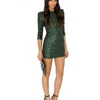 Missguided - Aeronia Low Back Sequin Bodycon Mini Dress In Deep Green