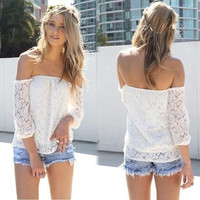 Summer Women Strapless Long Sleeve Floral Lace Casual Sexy Cute Top Shirt Blouse A_L = 5613022081