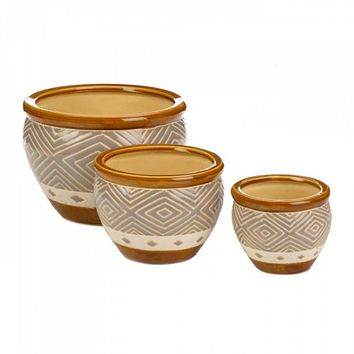 Earth-tone Trim Planter Trio