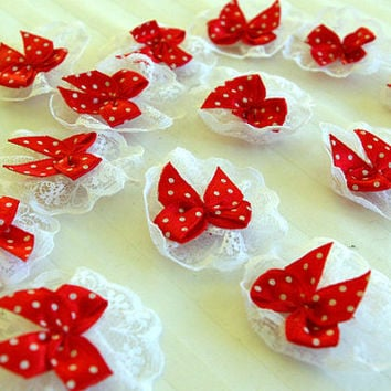 12 Cute Red Polka Dot Bows with Lace Frill 4cm wide Embellishments Crafts