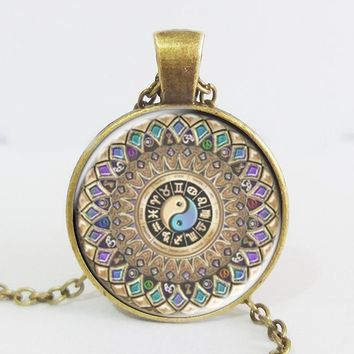 Fashion yin yang jewelry mandala necklaces 1Pcs henna yoga pendant om symbol buddhism zen handmade India style necklace 2016 Antique Bronze Plated