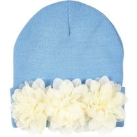 Light blue flower trim beanie hat